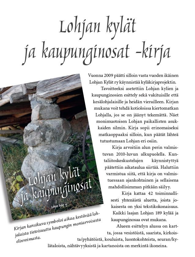 Lohjan kylät ja kaupunginosat kirja – palautetta kylästä